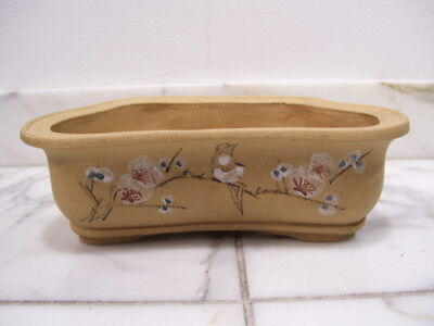 Vintage Yixing Chinese Pottery Slip Decorated Bonsai Planter w/ Calligraphy