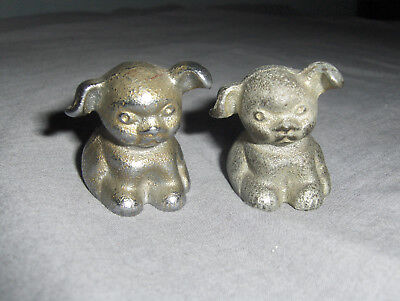 ANTIQUE Cast Iron Pair of Puppy Dogs Advertising BUCKI CARBON RIBBONS SO CUTE