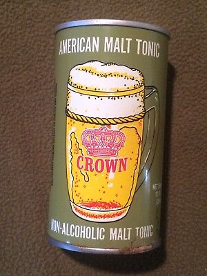 Crown American Malt Tonic Brew for Saudi Arabia Vintage Beer Can Bottom Opened