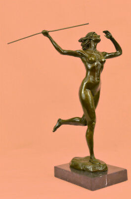 Hand Made Vitaleh Female Amazon Girl w Spear Bronze Sculpture Marble Statue Gift
