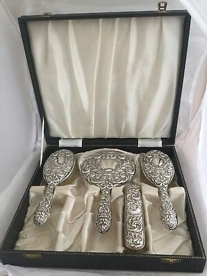 Stunning Solid Silver Backed Green Man Hairbrush, Mirror Etc Set In Fitted Box