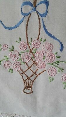 Antique Hand Stitched  Embroidered Basket Runner Floral Lace [E4] 39'' x 11-1/2'