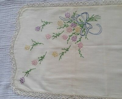 Antique Hand Stitched  Embroidered Runner Floral Lace [E3] 40'' x 14''