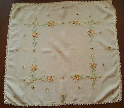 Antique Hand Stitched  Embroidered  Runner Floral Lace [E8] 33-1/2 x 35''