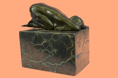 Contemporary Bronze Metal Sculpture Nude Abstract Figurative Female Signed Decor