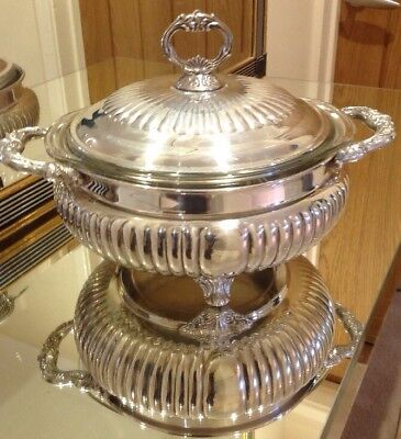 Large Vintage Silver Plated Lidded Tureen With Pyrex Liner
