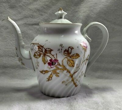 Antique Limoges France China Hand Painted Rose Teapot With Lid