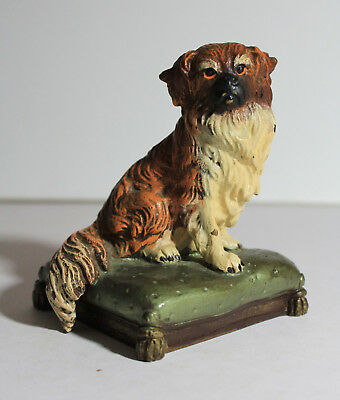Antique PEKINGESE Dog Original Paint BRONZE Figurine Paperweight Otto JARL c1900