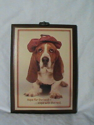 Beagle Dog 1980 Hallmark wall Plaque Hope for the Best Cope with the Rest