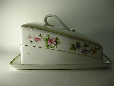 """Vintage Nippon hand-painted 7 1/2"""" Covered Cheese dish Flowers & Gold trim"""