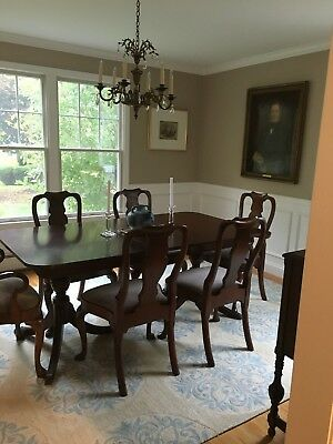 Mahogany Extension Dining Table and Six Upholstered Chairs- Seats 6/8