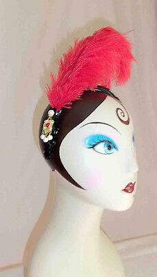 Victorian French Plume Red Feather Handmade Headpiece w/Black Sequins + Pendant