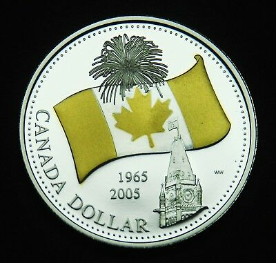 2005 Can silver BU proof $1 coin that commemorates the Canadian flag