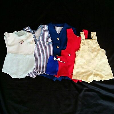 Vintage Infant Toddler Boy Clothes Lot Shortall Swimsuit Suit Size 0 to 2