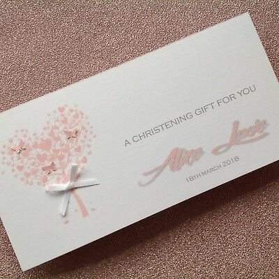 Personalised Handmade Money/Voucher/Gift Card Wallet CHRISTENING Boy or Girl