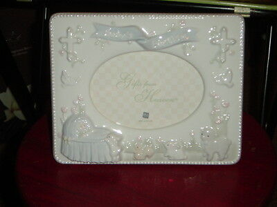 Russ Gifts From Heaven Porcelain Baby's Baptism Photo Frame~Nib!!