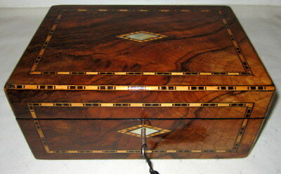 LOVELY ANTIQUE FIGURED WALNUT & BANDED BOX with key
