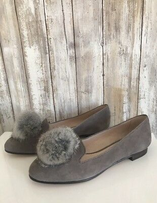 1b283ae9bbb NEW Louise et Cie Andres Gravel Gray Suede Fur Pompom Loafer Flat Shoes 7.5