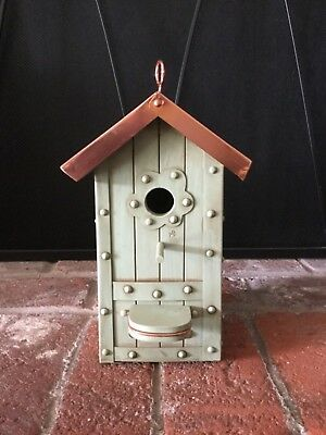 RARE Marjolein Bastin Birdhouse Indoor Outdoor Copper Roof Lrg Size 12.5x4.5""