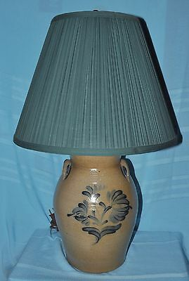 Large 1992 Rowe Pottery Works Stoneware Blue Decorated Table Lamp & Shade Floral