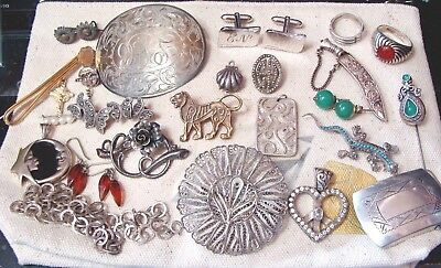 170 Grams Sterling Silver Scrap Lot Good Condition Wearable Vintage Jewelry