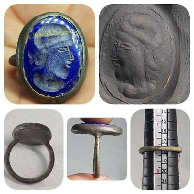 Old Bronze Ring Old Beautiful Face Intaglio Stone   # B2