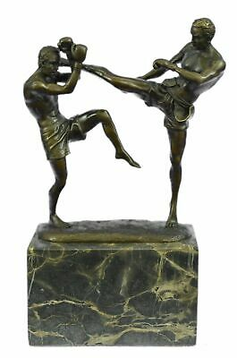 Hand Made European Bronze Signed Real Milo Kick Boxer Box-Grade Sculpture