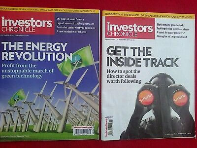 2 x INVESTORS CHRONICLE NOVEMBER DECEMBER 2017 VERY GOOD FREE FIRST CLASS POST