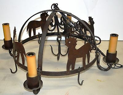 VINTAGE Cast Iron Rustic Horse Candle-Style Chandelier with Sausage Hooks