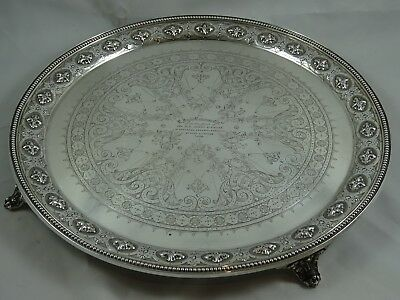 MAGNIFICENT , VICTORIAN solid silver SALVER, 1877, 1145gm