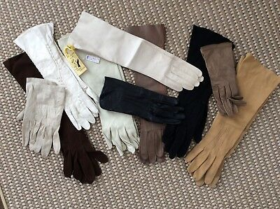Lot of 10 Vintage Womens Gloves Leather Elbow Wrist France Dawnelle Germany