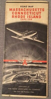 1941 Tydol/ Flying A Massachusetts/ Connecticut /Rhode Island Vintage Road Map