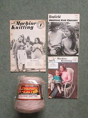 KNITTING MACHINE WOOL  THERMO - KNIT 340g CONE  + pattern booklets