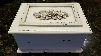 Rustic White Rose Carved Wood Jewelry Trinket Box -Shabby Chic Distressed Decor