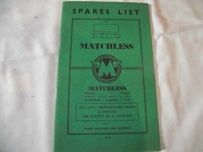 Spares List For Matchless Motorcycles