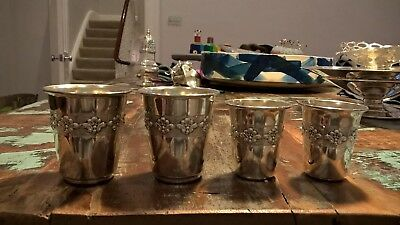 A Set of FOUR Silver Sterling 925 Kiddush Cups Wine Goblets Bechers Judaica 116g