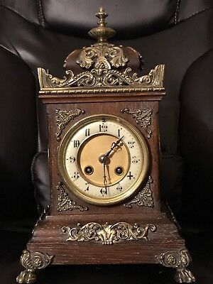 Spectacular Japy Freres Circa 1870 Wood & Brass Bracket Mantel Clock French