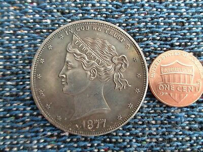 United States 1877 $1 Silver Plated Copper Coin Wreath  Reverse Fantasy Issue!!!
