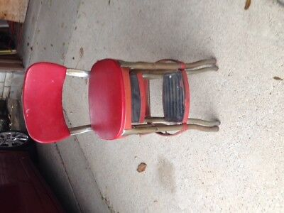 Vintage Antique Rare COSCO Step Stool Red Metal Kitchen Chair- No Reserve