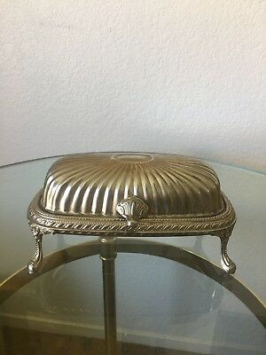 Vintage Silver Plated Footed D  Roll Top Butter Holder Victorian Style