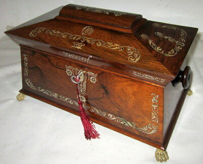 BEAUTIFUL ANTIQUE ROSEWOOD & MOTHER OF PEARL TEA CADDY with key