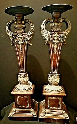 Elegant Heavy 18 Inch Tall Pair of Candlesticks