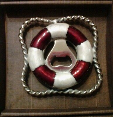 Tommy Bahama LIFE PRESERVER Bottle Opener Red / White Metal New in Box