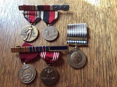 Lot Of US Military Service Medals & Ribbon Bars WW2 Korea