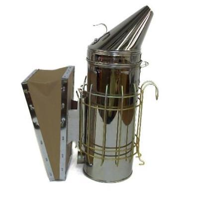 ❤ New Large Bee Hive Smoker Stainless Steel W/Heat Shield Beekeeping Equipment ❤