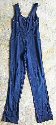 VTG1960's FREDERICK'S OF HOLLYWOOD Stretch Denim SEXY JUMPSUIT M Ring Zip Gold