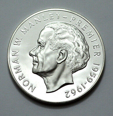 1973 Jamaica $5 Five Dollar Norman W Manley 41 gram Sterling Silver Proof Coin