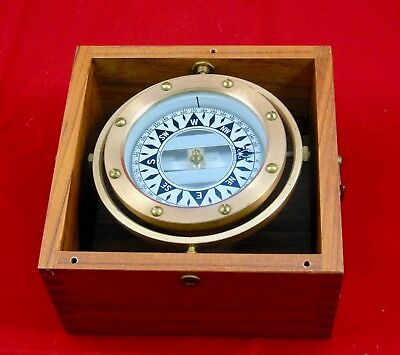 Vintage Dirigo Brass & Copper Nautical Compass Bellevue Wa In Teak Box