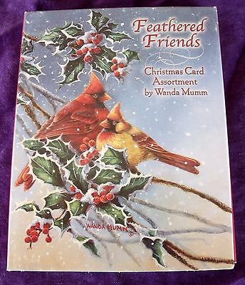 New Orig Pkge LEANIN' TREE 12 Christmas Cards Env Feathered Friends Cardinals