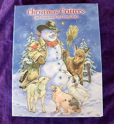 New Pkge LEANIN' TREE 12 Christmas Cards Env CHRISTMAS CRITTERS Cowboy Snowman